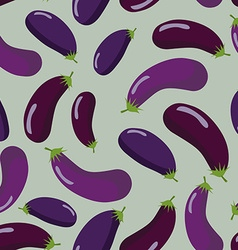 Eggplant seamless pattern vegetable background of vector