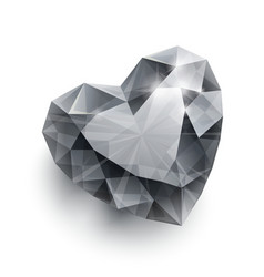 Shiny isolated diamond heart shape with shadow on vector