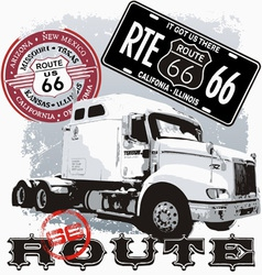Truck route 66 vector