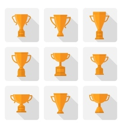 Flat trophy cup icons set vector