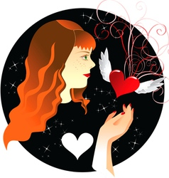 Ginger girl and heart vector