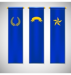 Vertical blue flags with emblems vector