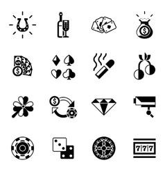 Casino icons black vector