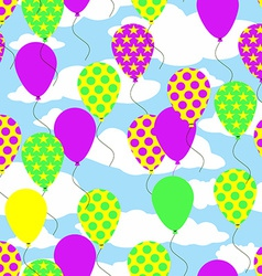 Seamless pattern with colorful balloons on sky vector