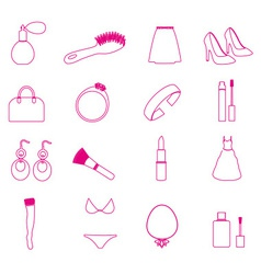 Lady stuff needs simple outline icons set eps10 vector