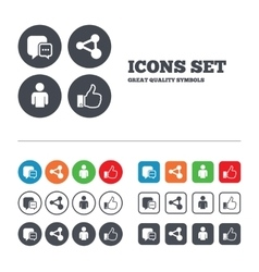 Social media icons chat speech bubble and share vector