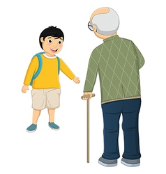 Kid and old man vector