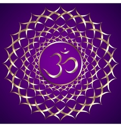 Abstract purple background with om mantra vector