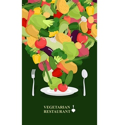 Vegetarian restaurant fresh vegetables on the vector