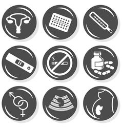 Pregnancy woman medical icons vector