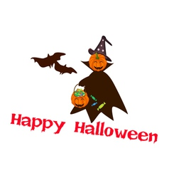 Halloween pumpkin with candy basket vector