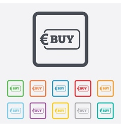Buy sign icon online buying euro button vector