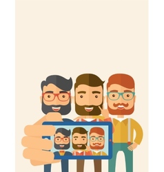 Three men taking selfie vector