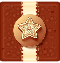 Christmas chocolate box with badge and ribbon vector
