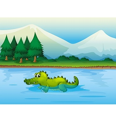 An alligator in the river vector