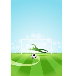 Soccer background with goalkeeper and ball vector
