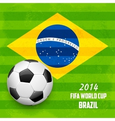 Soccer ball with brazilian flag vector
