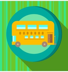 Yellow bus on green striped background vector