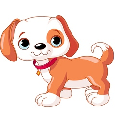 Cute walking puppy wearing a red collar with a dog vector