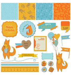 Baby shower set with cute foxes vector