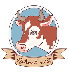 Cow emblem ribbon vector