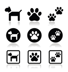 Dog paw prints icons set vector