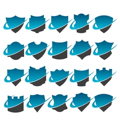 Swoosh shield logo icons vector
