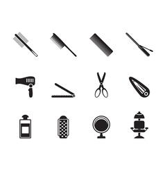Silhouette hairdressing and make-up icon vector