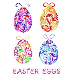 Floral decorative patterned easter eggs vector