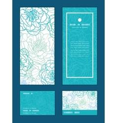 Blue line art flowers vertical frame vector