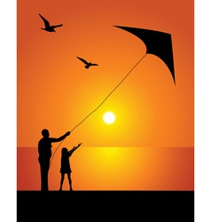 The girl and kite vector