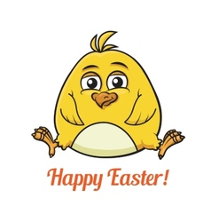 Cute little yellow easter chick vector