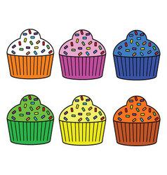 Cute muffin set vector
