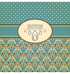 Invitation card with seamless floral wallpaper vector