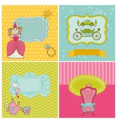 Princess girl card set vector