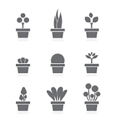 Set of pot plants black symbol vector