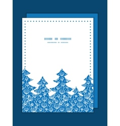 Blue white lineart plants christmas tree vector