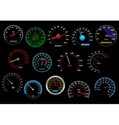 Various speedometers set vector