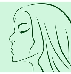 Female laconic heads outline in green vector