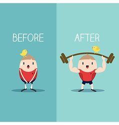 Bodybuilder with barbell before and after concept vector