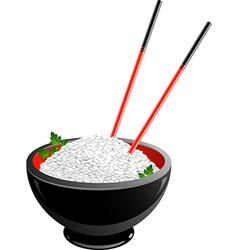 Bowl of rice vector