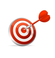 Dartboard with dart hitting a target vector