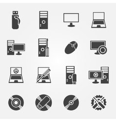 Computer repair service and maintenance icon set vector