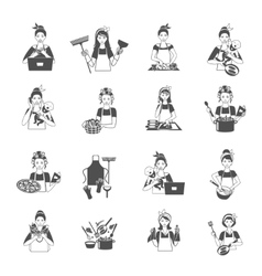 Housewife black set vector