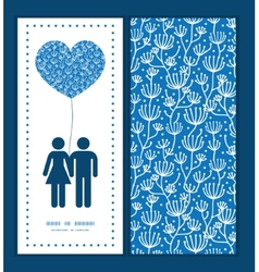 Blue white lineart plants couple in love vector