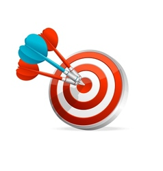 Dartboard with colorful darts hitting a target vector