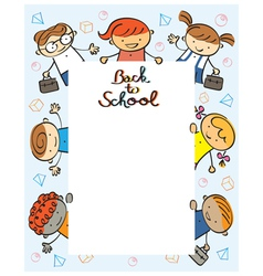 Kindergarten kids back to school frame vector