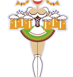 Oktoberfest waitress with glasses of beer woman vector