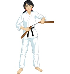 Asian nunchuck girl in karategi vector