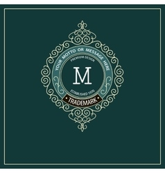 Beautiful calligraphic monogram emblem template vector